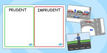 Traversarea străzii prudent și imprudent - Joc cu reguli circulație