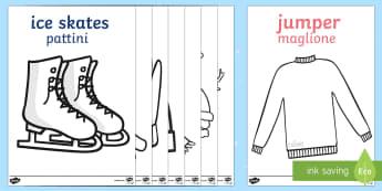 Winter Topic Colouring Images English/Italian - Arctic, winter, xmas, colouring, fine motor skills, poster, worksheet, skis, ice skates, polar bear,
