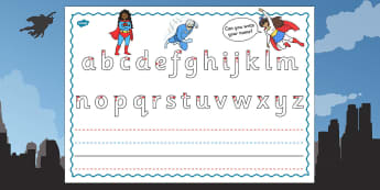 Superhero Themed Name Writing Worksheet - superhero, writing