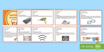 Australian Inventions Fact Cards - ACSHE100, ACSHE083, use and influence of science, inventions, inventors, science as a human endeavou