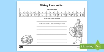 Write Your Name in Viking Runes Worksheet - viking runes, vikings, runes, viking runes worksheet, runic alphabet, writing your name in runes, ks2 history, futhark