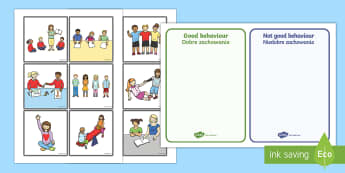 Classroom Behaviour Sorting and Discussion Cards English/Polish - Classroom Behaviour Sorting and Discussion Cards - classroom behaviour, sorting, discussion, cards,E