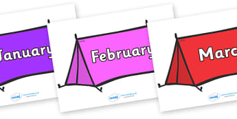 Months of the Year on Tents - Months of the Year, Months poster, Months display, display, poster, frieze, Months, month, January, February, March, April, May, June, July, August, September