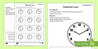 Karta Podawanie czasu - czas, czasu, godzina, godziny, minuta, zegar, zegarek, matematyka, mierzenie, karta, zadanie, domowe