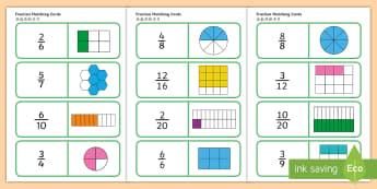 Fractions Matching Cards English/Mandarin Chinese - Fractions Matching Cards - fractions, matching cards, matching, matching fractions, fraction cards,