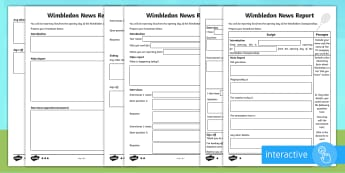 KS2 Wimbledon News Report  Differentiated Go Respond Activity Sheets - Writing, Non-Fiction, Digital, Broadcast, Tennis.