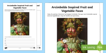 Arcimboldo Inspired Fruit and Vegetable Faces Activity Sheet - artist, Arcimboldo, fruit face, vegetable face, planning, work sheet, activity sheet,Irish