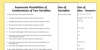 Year 6 Enumerate Possibilities of Combinations of Two Variables Worksheet / Activity Sheet Pack - Key Stage 2, Maths. KS2, algebra, worksheet