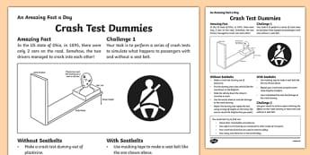 Crash Test Dummies Worksheet / Activity Sheet, worksheet
