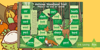 Phase 3 'oo' and 'ar' Words Autumn Woodland Trail Board Game - autumn, trail, game, phase 3, oo, ar, letters and sounds, phonics, woodland, digraphs