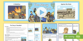 The Story of Hanukkah Whole School Assembly Pack - maccabees, menorah, miracles, light,
