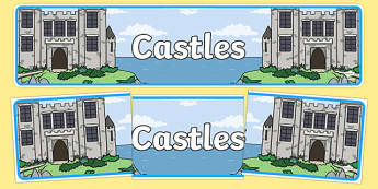 Castles Display Banner - Castles, Knights, Display, Posters, Freize, Castles and Knights, maiden, castle, tower, dragon, sword, horse, flag, shield, dungeon