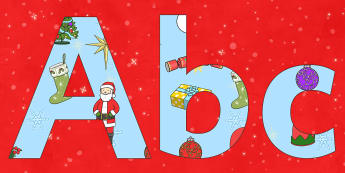 Christmas Display Lettering - Christmas, xmas, Display lettering, display letters, alphabet display, letters to cut out, letters for displays, coloured letters, coloured display, coloured alphabet, tree, advent, nativity, santa, father christmas, Jes