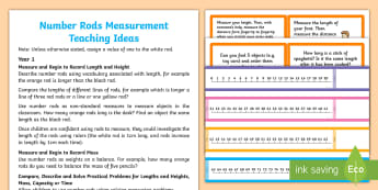 KS1 Number Rods Measurement Teaching Ideas - cuisenaire rods, measuring, length, mass, weight, money, KS1, Year 1, year 2