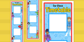 Superhero Themed Vertical Visual Timetable Display - display, timetable