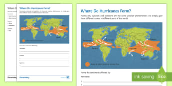 Where Do Hurricanes Form? Activity Sheet  - map, global, typhoon, cyclone, equator, weather, tropical storm