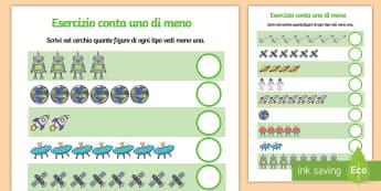 Esercizio conta uno di meno Attività - esercizio, contare, conta, numeri, figure, matematica, uno, di, meno, materiale, scolastico, italian