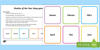 Months of the Year Snap Game German - Months of the Year, Game, German