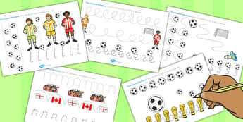 Womens Football World Cup 2015 Pencil Control Worksheets - world