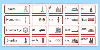 London Word Cards - london, word, cards, word cards, britain