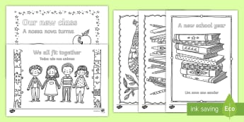 Back to School Themed Mindfulness Coloring English/Portuguese - Back to School Themed Mindfulness Coloring - adult colouring, returning, new starters, academic year