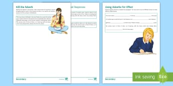 Using Adverbs for Effect Activity Sheet - Adverbs, Effect, KS3, SPAG, Grammar, word level, language