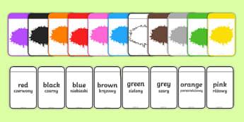 Colour Matching Flashcards English/Polish - Colour Matching Flashcards - colour, matching, flashcards, match, flashards, mathching, flascards,Po