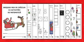 Broșură cu activități de matematică pe tema Crăciunului - raciun, materiale,matematică, activitati de craciun, fise, numere,Romanian