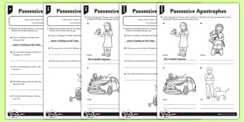 Possessive Apostrophes Differentiated Activity Sheet Pack - GPS, punctuation, apostrophes, possession, possessive apostrophe, worksheet