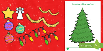 Decorate a Christmas Tree Activity Pack - christmas trees, decorate, fine motor skills, cut and paste