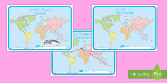 * NEW * World Map Display Posters - English / Spanish  - World Map Display Posters - Holiday, holidays,Travel agent, travel, role play, display poster, poste