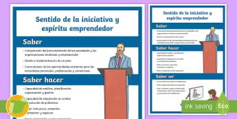 Póster: Las competencias clave - Sentido de la iniciativa y espíritu emprendedor - CCBB, Competencias Básicas, Competencias Clave, Lomce, 2015