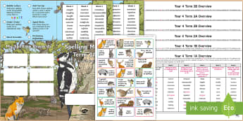 Year 4 Wildlife Themed Spelling Menu Pack - spag, gps, home learning, weekly, lists, test,