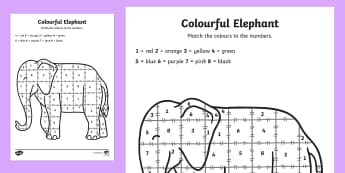 Colour by Number Sheet to Support Teaching on Elmer - Elmer, Elmer the elephant, resources, colour by numbers, counting, numbers, Elmer story, patchwork elephant, PSHE, PSE, David McKee, colours, patterns, story, story book, story book resources, sto