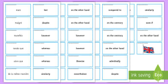 Comparing and Contrasting Matching Cards French - Compare, comparison, contrast, opposite, opposition, stucturing, ,French