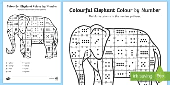 Colour by Number Counting Sheet to Support Teaching on Elmer - elmer, colour, counting, numbers, sheet, activity