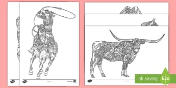 Calgary Stampede Colouring Pages - Calgary Stampede Resources, colouring pages, mindfulness, art, fine motor skills, horse, cowboy, cow