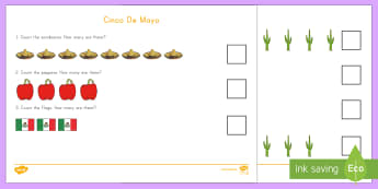 Cinco de Mayo Counting Go Respond Activity Sheet - Cinco de Mayo, count, how many, number, Mexico, worksheet,