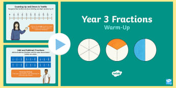 Year 3 Fractions Maths Warm-Up PowerPoint - KS2 Maths warm up powerpoints, KS2 fractions, key stage 2 fractions, LKS2 fractions, lower key stage
