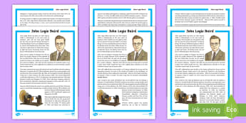 Scottish Scientist and Engineer John Logie Baird Differentiated Fact File - CfE, science, engineering, STEM, television, inventor, inventions, topical science, technology, famo