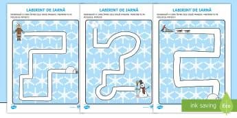Labirintul iernii Fișe de activitate - iarna, haine, îmbrăcăminte, comunicare, cum ne îmbrăcăm, elemente grafice, motricitate fină,