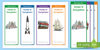 Book Week 2017 Escape to Everywhere Editable Bookmarks - Australian Book Week: Book Week 2017 Escape to Everywhere Editable Bookmarks, literature, literacy,