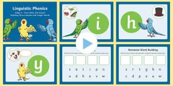 Northern Ireland Linguistic Phonics Stage 2 Building Words PowerPoint - Sounds, VCC, CVCC, CCVC, Segmenting, Blending, Phonemes, Graphemes, real words, nonsense words
