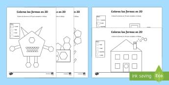Color by 2D Shapes Worksheet / Activity Sheet Spanish - Spanish, Vocabulary, KS2, shapes, 2D, color, by, activity, sheet, worksheet. dibujo, worksheet.
