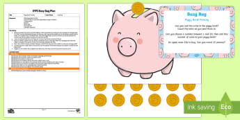 EYFS Piggy Bank Posting Busy Bag Plan and Resource Pack - counting, maths, money, 1 to 1 Correspondence, penny, pennies