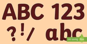 Burgundy Plain Display Lettering - Burgundy Plain Display Lettering - Classroom Display Lettering & SymbolS, display lettering, display