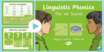 Northern Ireland Linguistic Phonics Stage 5 and 6, Phase 4b, 'oa' Sound PowerPoint  - NI, sound search, word sort, investigation