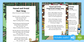 Hansel and Gretel Songs and Rhymes Resource Pack - Hansel, Gretel, Grimm, Fairly Tale, Traditional Tale, singing, song time