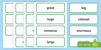 Size Adjectives Word Cards - describe, describing words, language, writing, spag, grammar, vocab, vocabulary