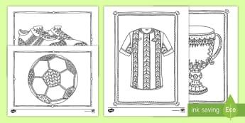 World Cup Soccer Mindfulness Coloring Activity Sheets - worksheets, fine motor skills, art